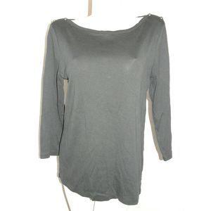 Black 3/4 Slv Shirt w/Anchor Buttons On Shoulder